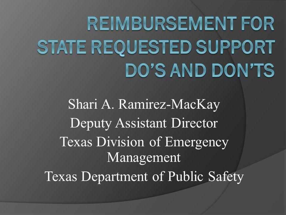 Handouts  Mutual Aid Reimbursement Documentation Checklist  Reimbursement Forms for State Mutual Aid  TIFMAS Business and Deployment Guide  TDEM Mission Time Log - CTR