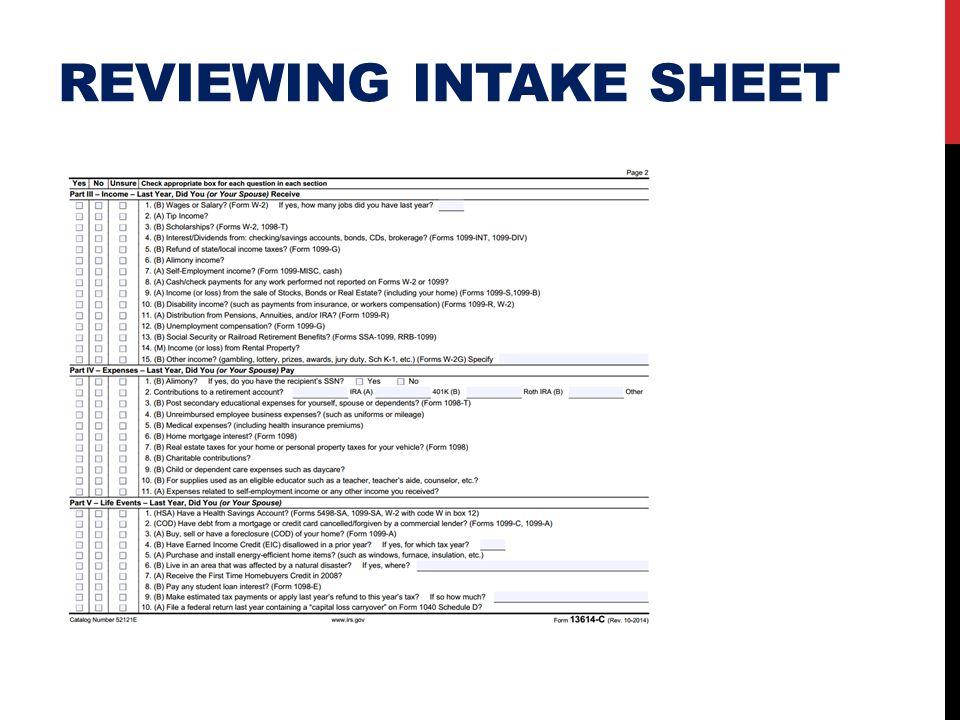 REVIEWING INTAKE SHEET