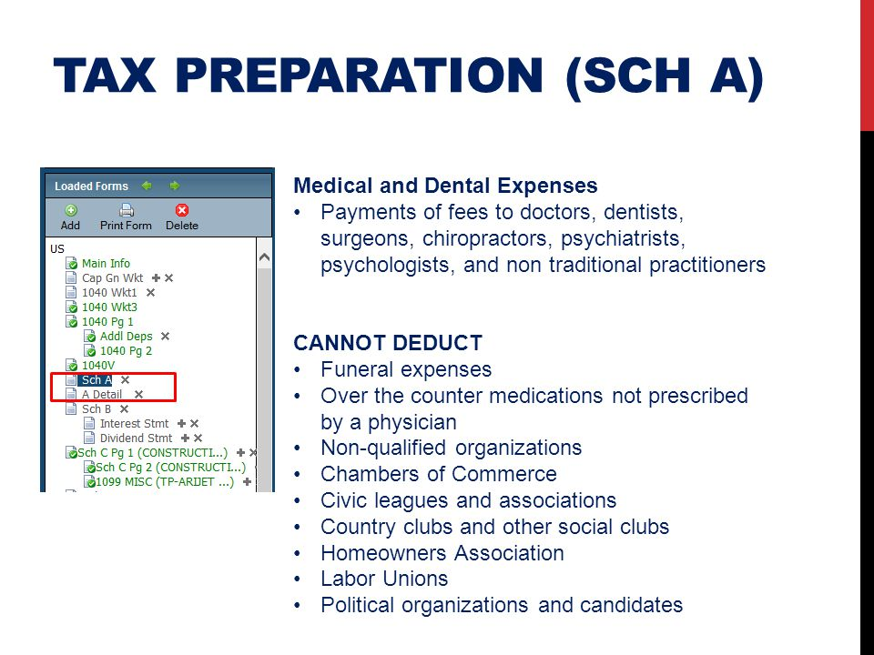 TAX PREPARATION (SCH A) Medical and Dental Expenses Payments of fees to doctors, dentists, surgeons, chiropractors, psychiatrists, psychologists, and