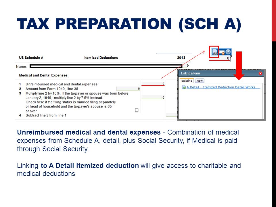 TAX PREPARATION (SCH A) Unreimbursed medical and dental expenses - Combination of medical expenses from Schedule A, detail, plus Social Security, if M