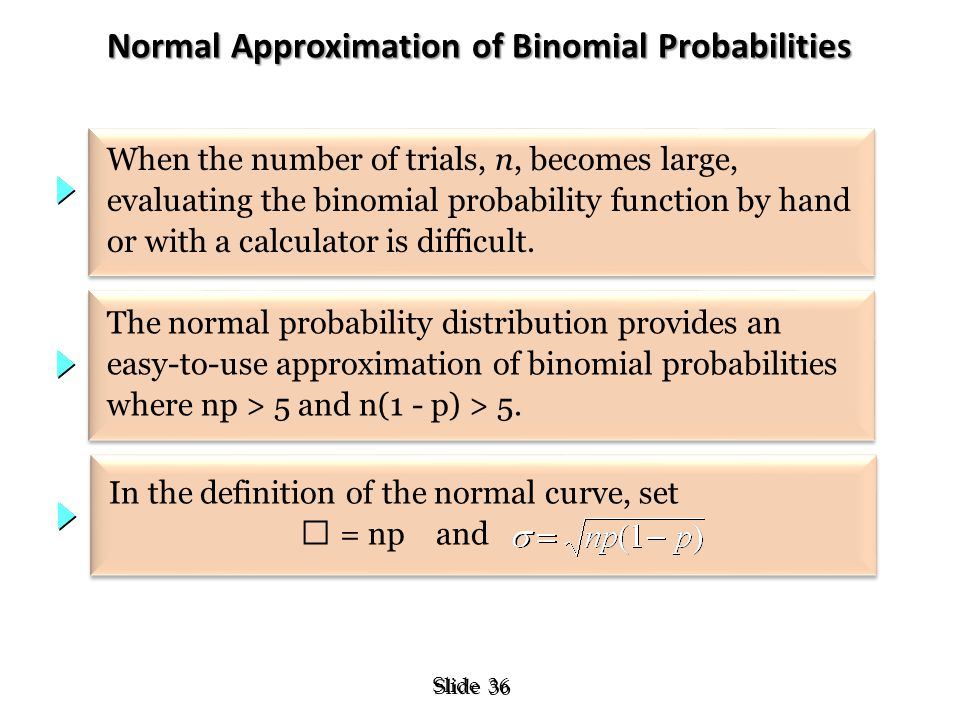 36 Slide Normal Approximation of Binomial Probabilities When the number of trials, n, becomes large, evaluating the binomial probability function by h