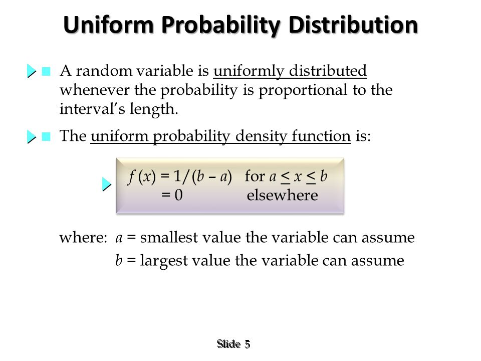 5 5 Slide Uniform Probability Distribution where: a = smallest value the variable can assume b = largest value the variable can assume f ( x ) = 1/( b