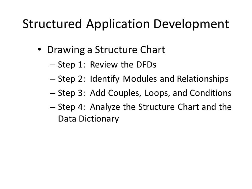 Structured Application Development Drawing a Structure Chart – Step 1: Review the DFDs – Step 2: Identify Modules and Relationships – Step 3: Add Couples, Loops, and Conditions – Step 4: Analyze the Structure Chart and the Data Dictionary