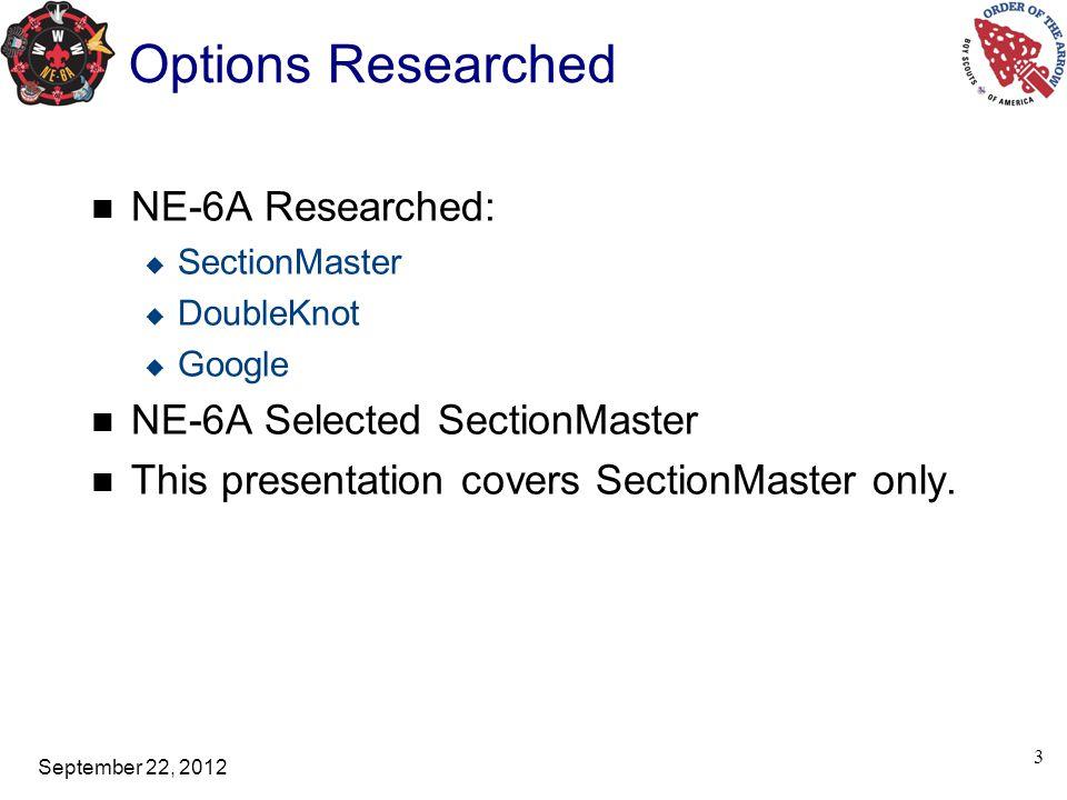 September 22, 2012 4 SectionMaster
