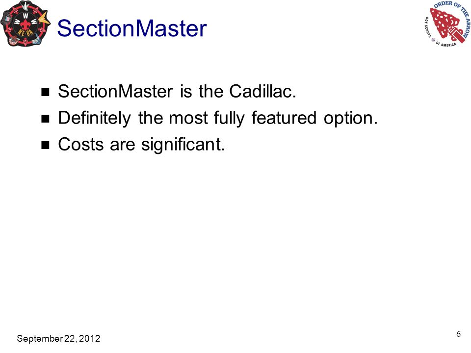 September 22, 2012 SectionMaster On-line registration on an individual basis.