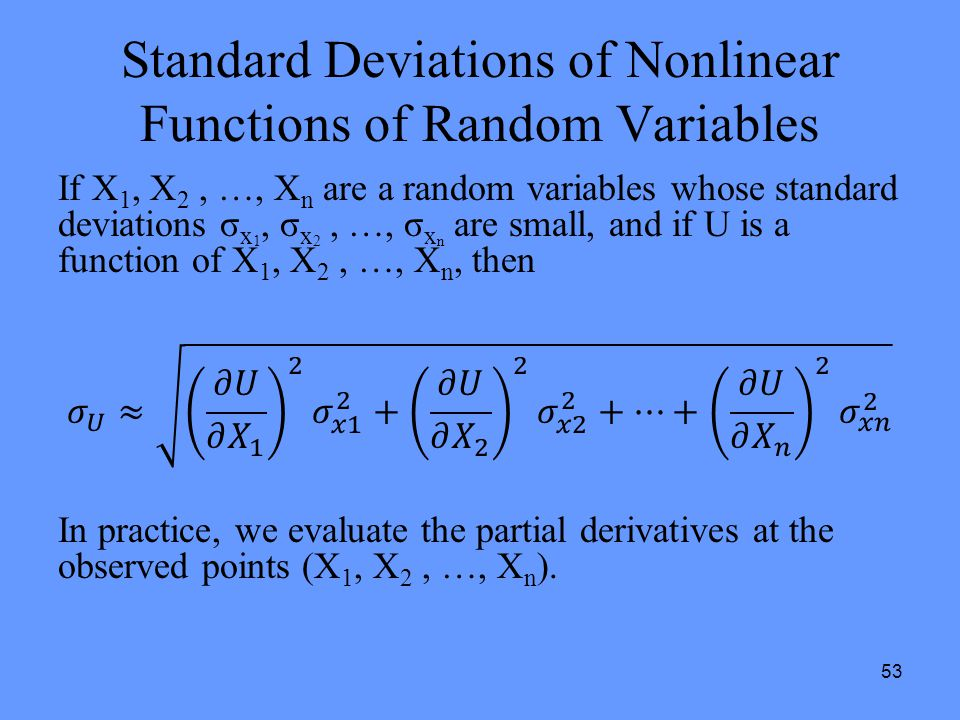 53 Standard Deviations of Nonlinear Functions of Random Variables