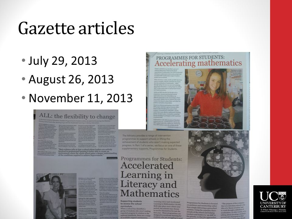 Gazette articles July 29, 2013 August 26, 2013 November 11, 2013