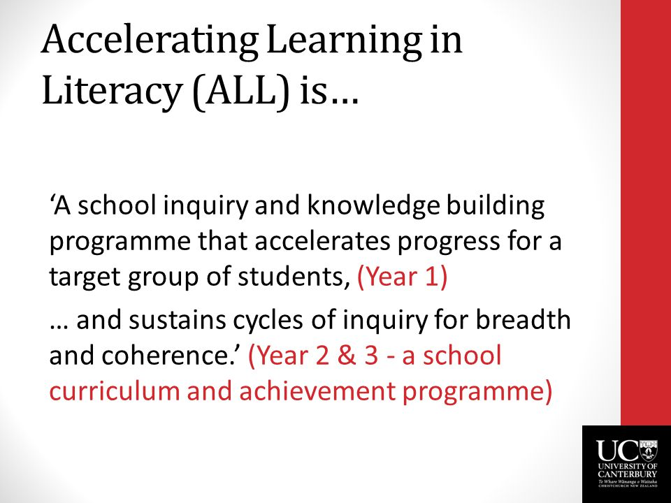 Accelerating Learning in Literacy (ALL) is… 'A school inquiry and knowledge building programme that accelerates progress for a target group of student