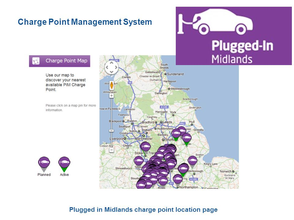 Plugged in Midlands charge point location page Charge Point Management System