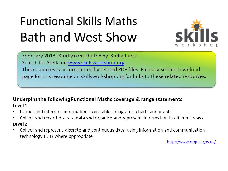 Functional Skills Maths Bath and West Show Underpins the following Functional Maths coverage & range statements Level 1 Extract and interpret information from tables, diagrams, charts and graphs Collect and record discrete data and organise and represent information in different ways Level 2 Collect and represent discrete and continuous data, using information and communication technology (ICT) where appropriate http://www.ofqual.gov.uk/ February 2013.
