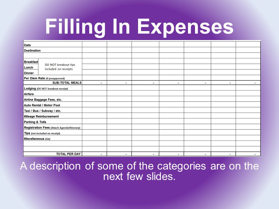 Filling In Expenses A description of some of the categories are on the next few slides.