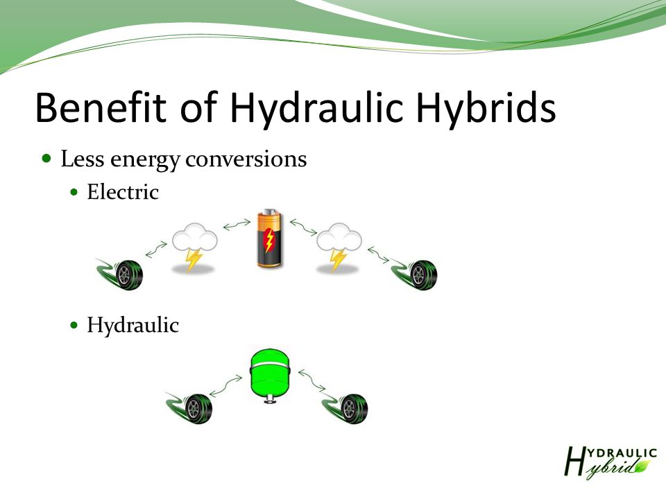 Benefit of Hydraulic Hybrids Less energy conversions Electric Hydraulic