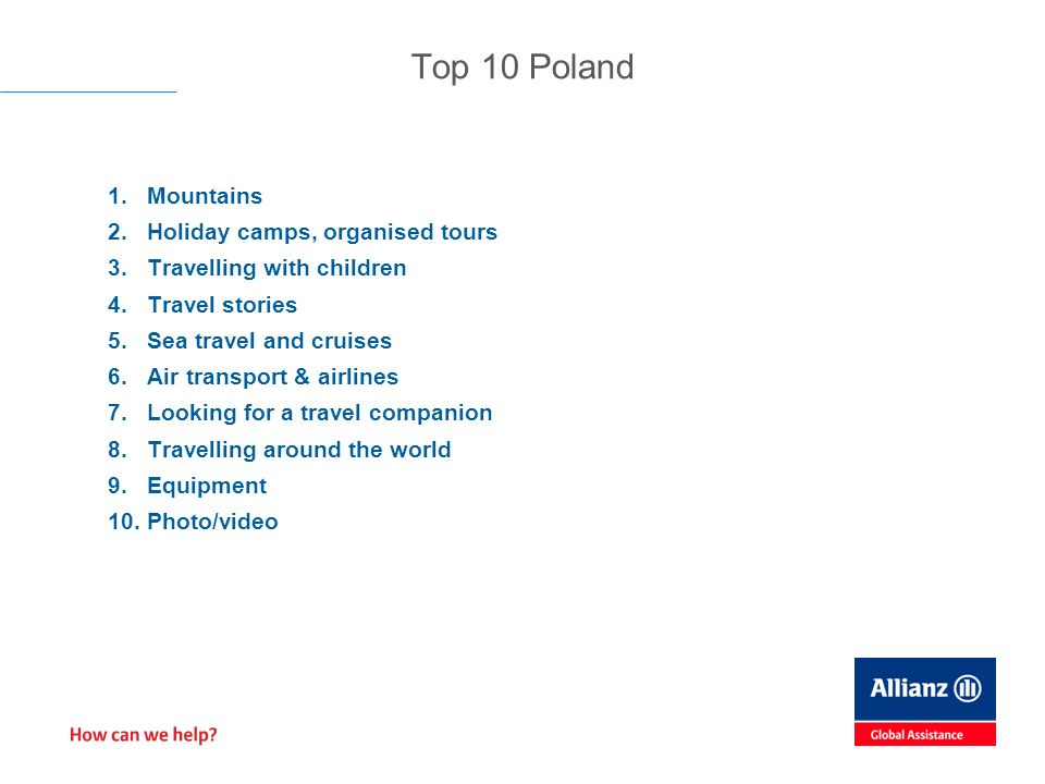 1.Mountains 2.Holiday camps, organised tours 3.Travelling with children 4.Travel stories 5.Sea travel and cruises 6.Air transport & airlines 7.Looking for a travel companion 8.Travelling around the world 9.Equipment 10.Photo/video Top 10 Poland