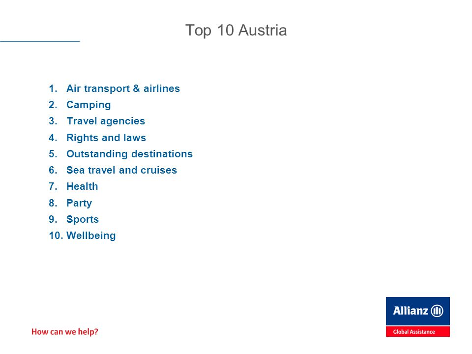 1.Air transport & airlines 2.Camping 3.Travel agencies 4.Rights and laws 5.Outstanding destinations 6.Sea travel and cruises 7.Health 8.Party 9.Sports 10.Wellbeing Top 10 Austria