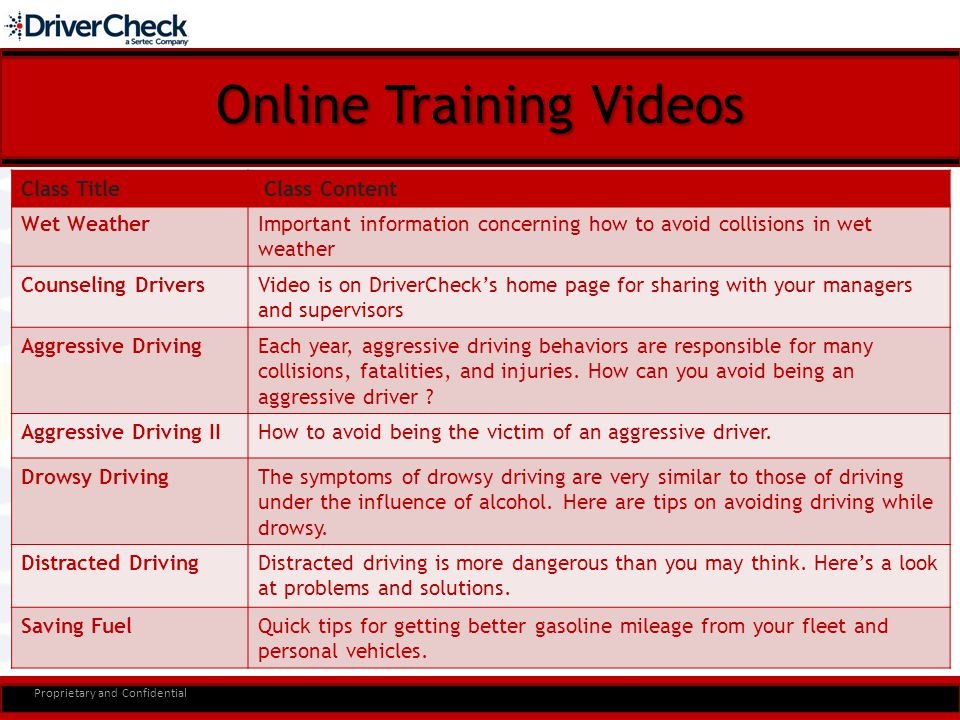 Online Training Videos Proprietary and Confidential Class Title Class Content Wet WeatherImportant information concerning how to avoid collisions in wet weather Counseling DriversVideo is on DriverCheck's home page for sharing with your managers and supervisors Aggressive DrivingEach year, aggressive driving behaviors are responsible for many collisions, fatalities, and injuries.