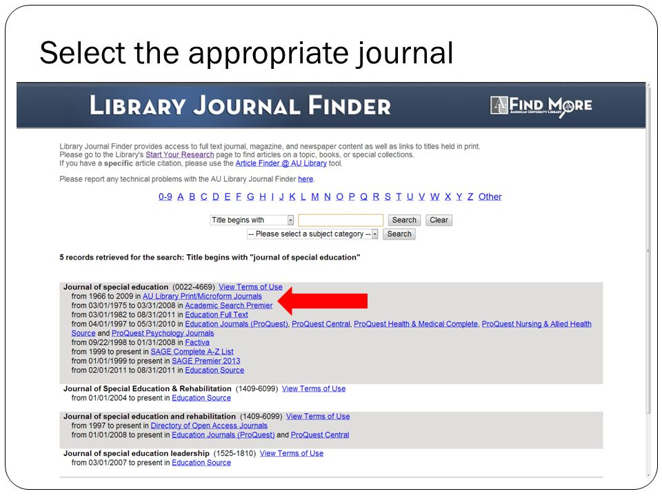Select the appropriate journal
