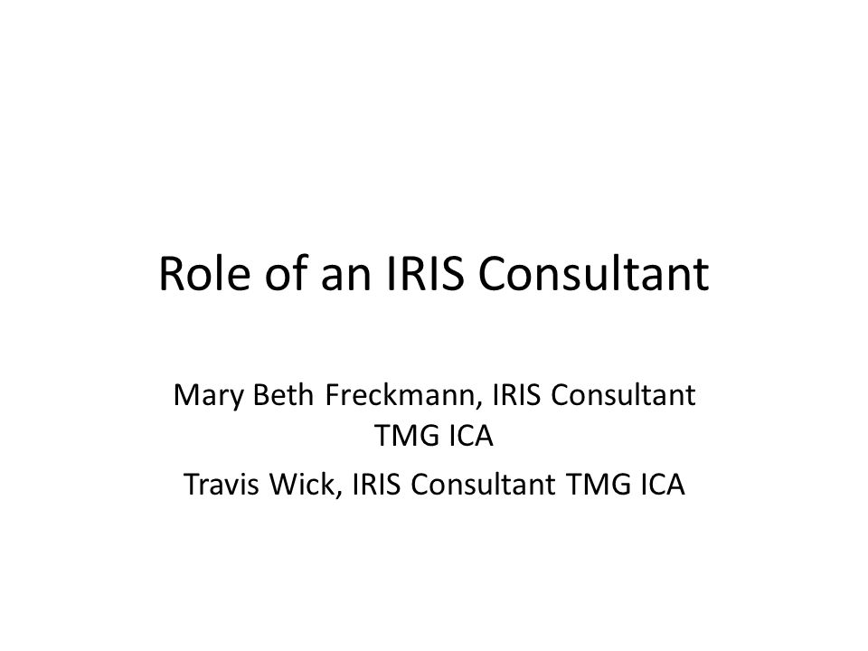 Role of an IRIS Consultant Mary Beth Freckmann, IRIS Consultant TMG ICA Travis Wick, IRIS Consultant TMG ICA