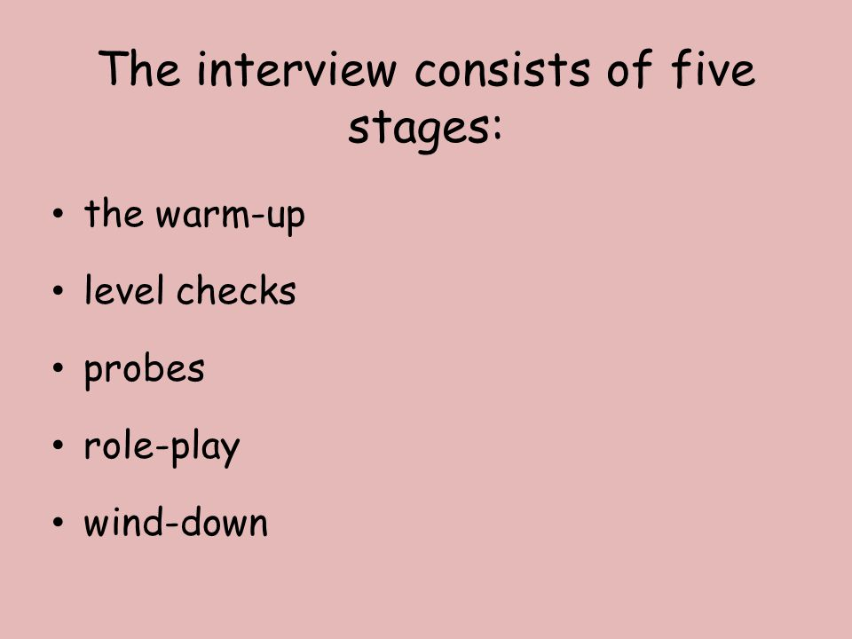 The interview consists of five stages: the warm-up level checks probes role-play wind-down