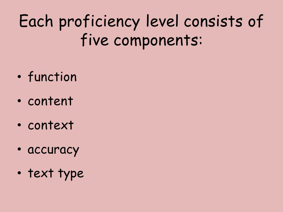 Each proficiency level consists of five components: function content context accuracy text type