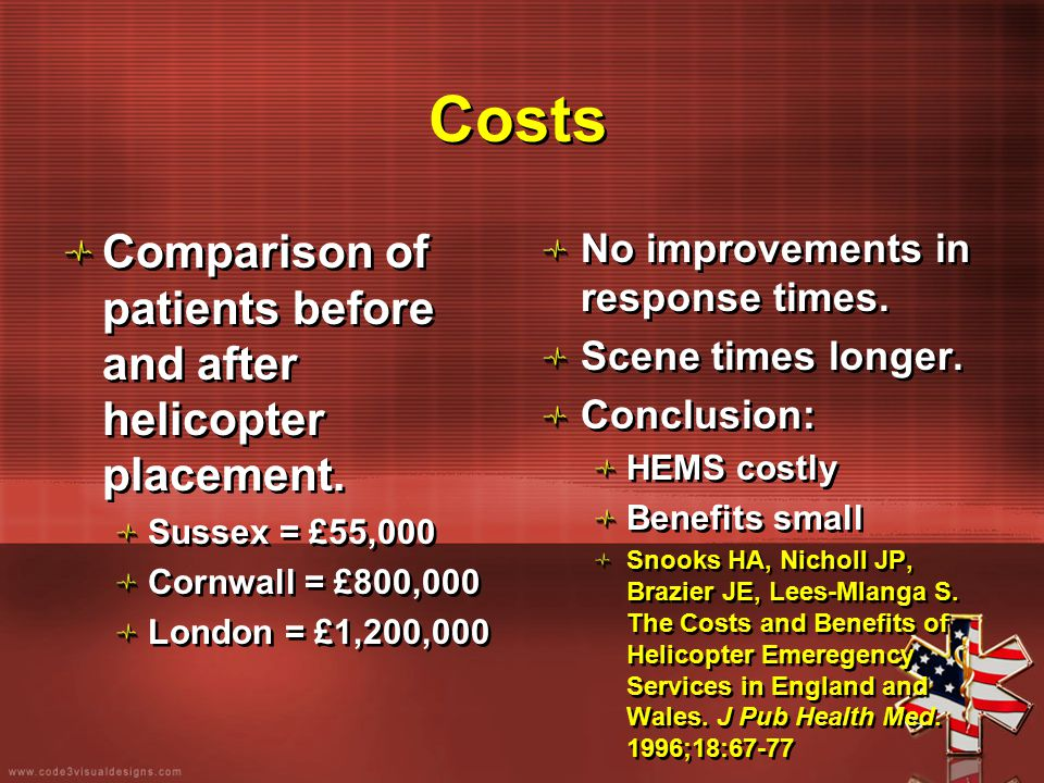 Costs Comparison of patients before and after helicopter placement. Sussex = £55,000 Cornwall = £800,000 London = £1,200,000 Comparison of patients be