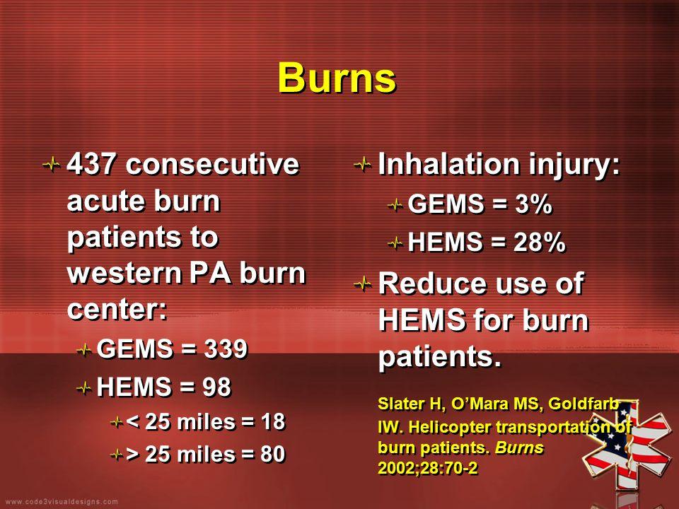 Burns 437 consecutive acute burn patients to western PA burn center: GEMS = 339 HEMS = 98 < 25 miles = 18 > 25 miles = 80 437 consecutive acute burn p