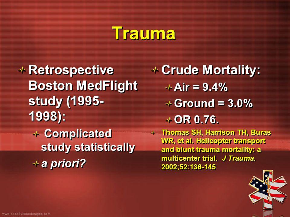 Trauma Retrospective Boston MedFlight study (1995- 1998): Complicated study statistically a priori? Retrospective Boston MedFlight study (1995- 1998):
