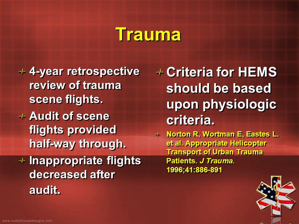 Trauma 4-year retrospective review of trauma scene flights. Audit of scene flights provided half-way through. Inappropriate flights decreased after au