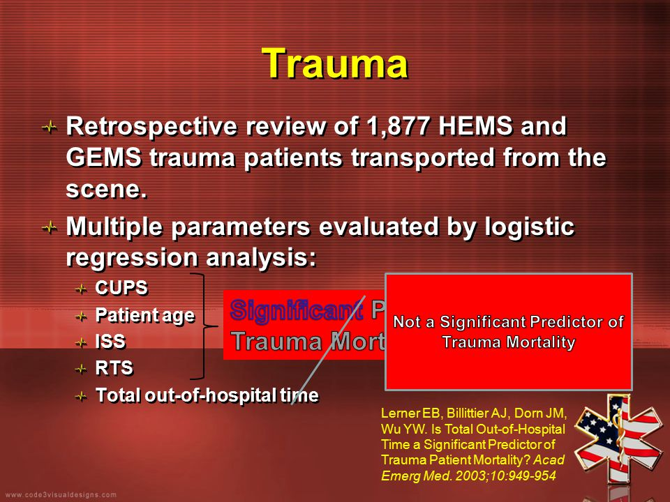 Trauma Retrospective review of 1,877 HEMS and GEMS trauma patients transported from the scene. Multiple parameters evaluated by logistic regression an