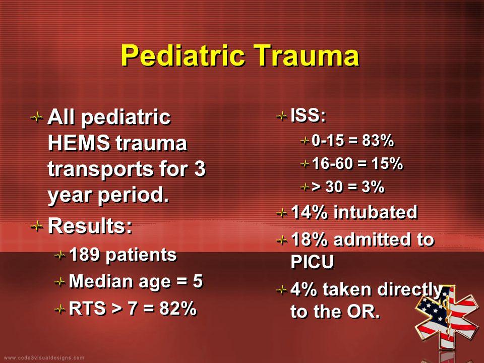 Pediatric Trauma All pediatric HEMS trauma transports for 3 year period. Results: 189 patients Median age = 5 RTS > 7 = 82% All pediatric HEMS trauma