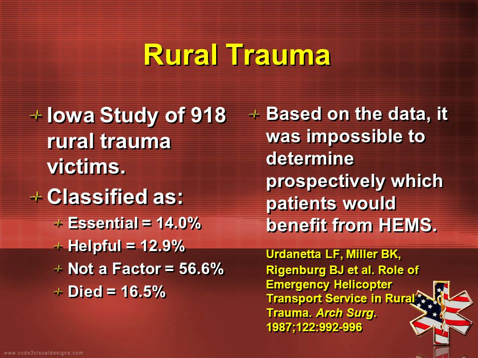 Rural Trauma Iowa Study of 918 rural trauma victims. Classified as: Essential = 14.0% Helpful = 12.9% Not a Factor = 56.6% Died = 16.5% Iowa Study of