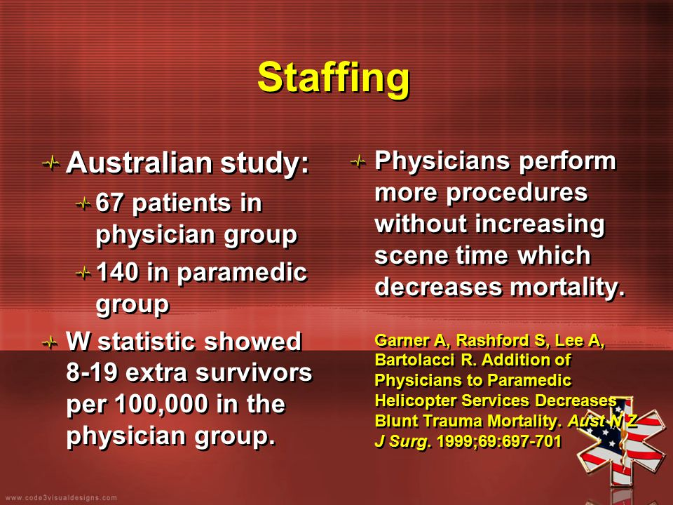 Staffing Australian study: 67 patients in physician group 140 in paramedic group W statistic showed 8-19 extra survivors per 100,000 in the physician