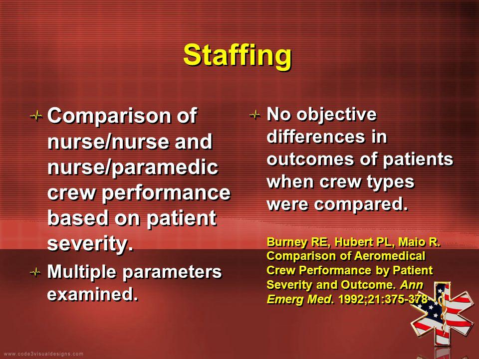 Staffing Comparison of nurse/nurse and nurse/paramedic crew performance based on patient severity. Multiple parameters examined. Comparison of nurse/n