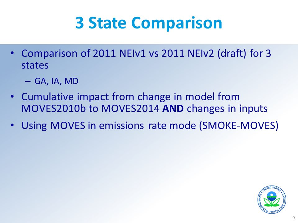 3 State Comparison 9 Comparison of 2011 NEIv1 vs 2011 NEIv2 (draft) for 3 states – GA, IA, MD Cumulative impact from change in model from MOVES2010b t
