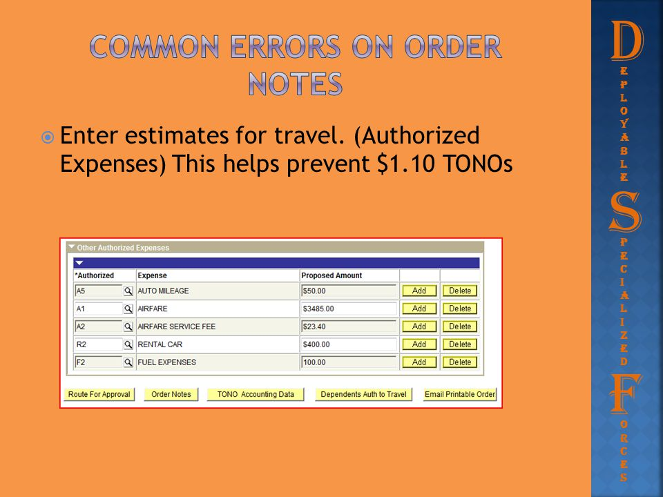  Enter estimates for travel. (Authorized Expenses) This helps prevent $1.10 TONOs D eployableeployable PecializedPecialized S F orcesorces