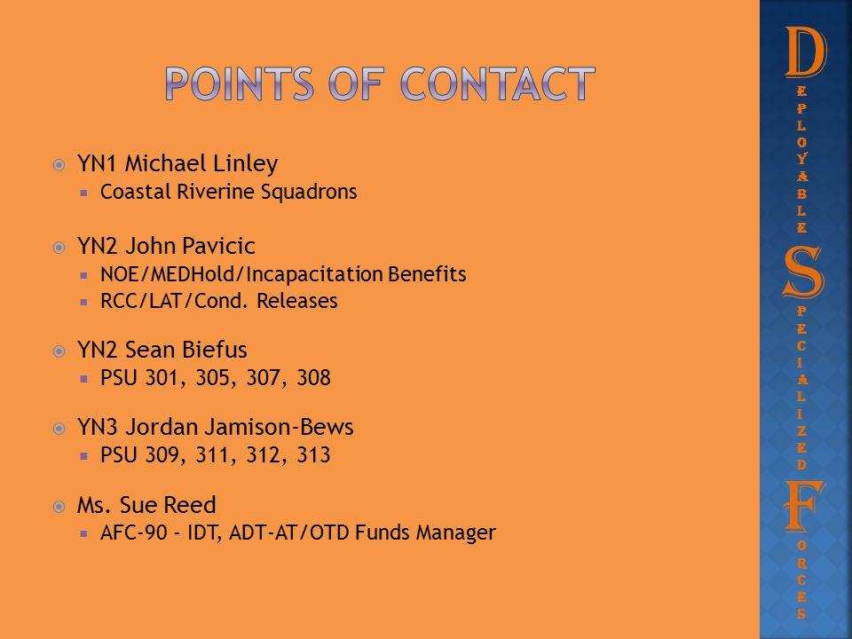  YN1 Michael Linley  Coastal Riverine Squadrons  YN2 John Pavicic  NOE/MEDHold/Incapacitation Benefits  RCC/LAT/Cond. Releases  YN2 Sean Biefus