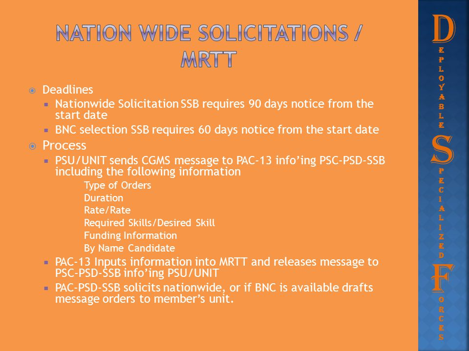  Deadlines  Nationwide Solicitation SSB requires 90 days notice from the start date  BNC selection SSB requires 60 days notice from the start date