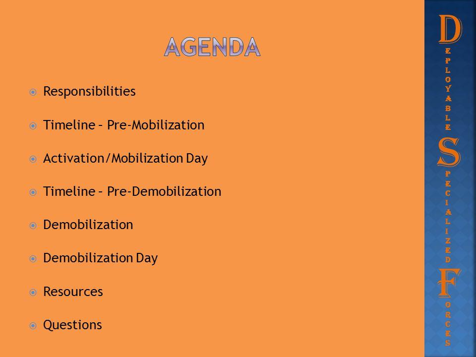  Responsibilities  Timeline – Pre-Mobilization  Activation/Mobilization Day  Timeline – Pre-Demobilization  Demobilization  Demobilization Day 