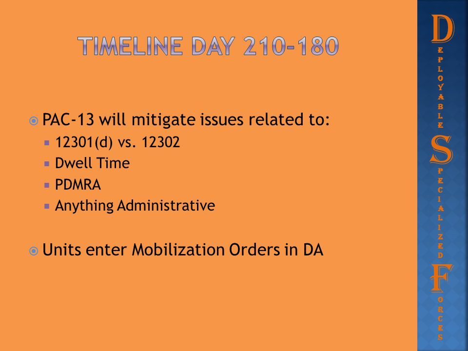  PAC-13 will mitigate issues related to:  12301(d) vs. 12302  Dwell Time  PDMRA  Anything Administrative  Units enter Mobilization Orders in DA