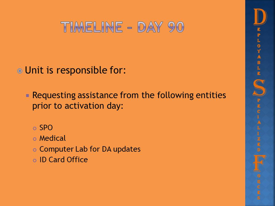  Unit is responsible for:  Requesting assistance from the following entities prior to activation day: SPO Medical Computer Lab for DA updates ID Car