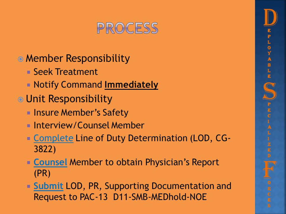  Member Responsibility  Seek Treatment  Notify Command Immediately  Unit Responsibility  Insure Member's Safety  Interview/Counsel Member  Comp
