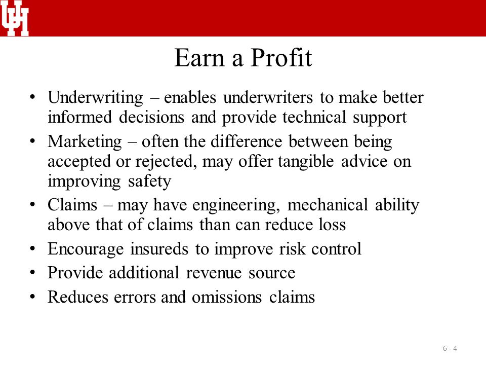 Cooperation Between Risk Control & Other Functions Underwriting Marketing and sales Premium auditing Claims producers 6 - 15