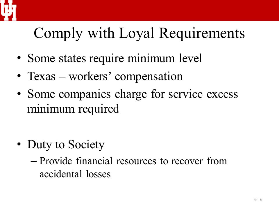 Comply with Loyal Requirements Some states require minimum level Texas – workers' compensation Some companies charge for service excess minimum required Duty to Society – Provide financial resources to recover from accidental losses 6 - 6