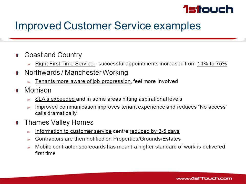 Improved Customer Service examples Coast and Country Right First Time Service - successful appointments increased from 14% to 75% Northwards / Manchester Working Tenants more aware of job progression, feel more involved Morrison SLA's exceeded and in some areas hitting aspirational levels Improved communication improves tenant experience and reduces No access calls dramatically Thames Valley Homes Information to customer service centre reduced by 3-5 days Contractors are then notified on Properties/Grounds/Estates Mobile contractor scorecards has meant a higher standard of work is delivered first time