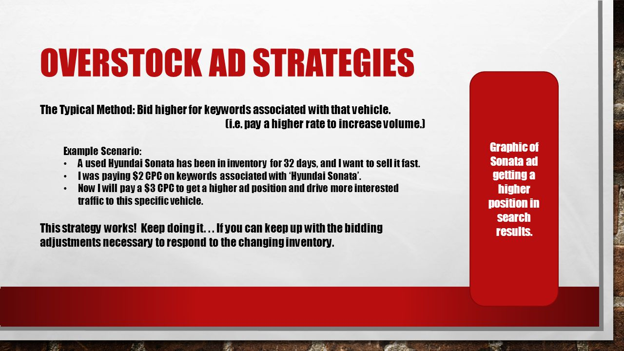 OVERSTOCK AD STRATEGIES The Typical Method: Bid higher for keywords associated with that vehicle.