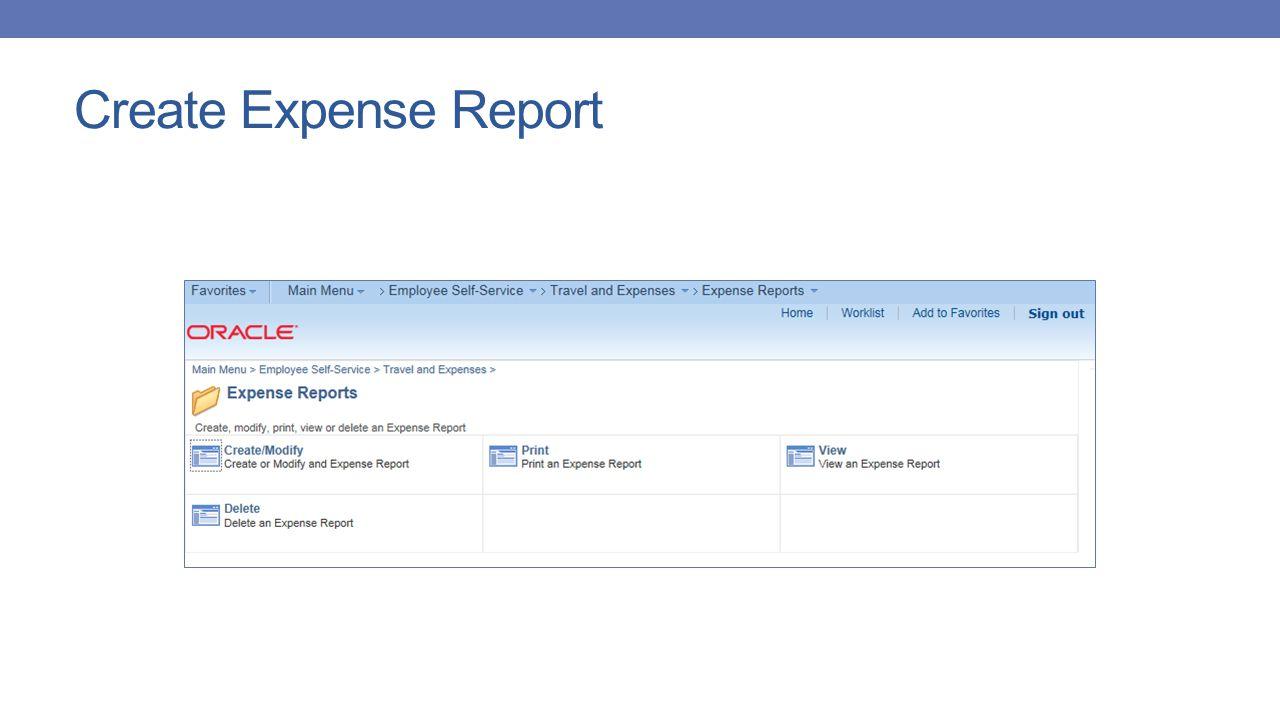 Create Expense Report