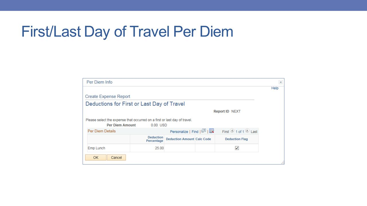 First/Last Day of Travel Per Diem