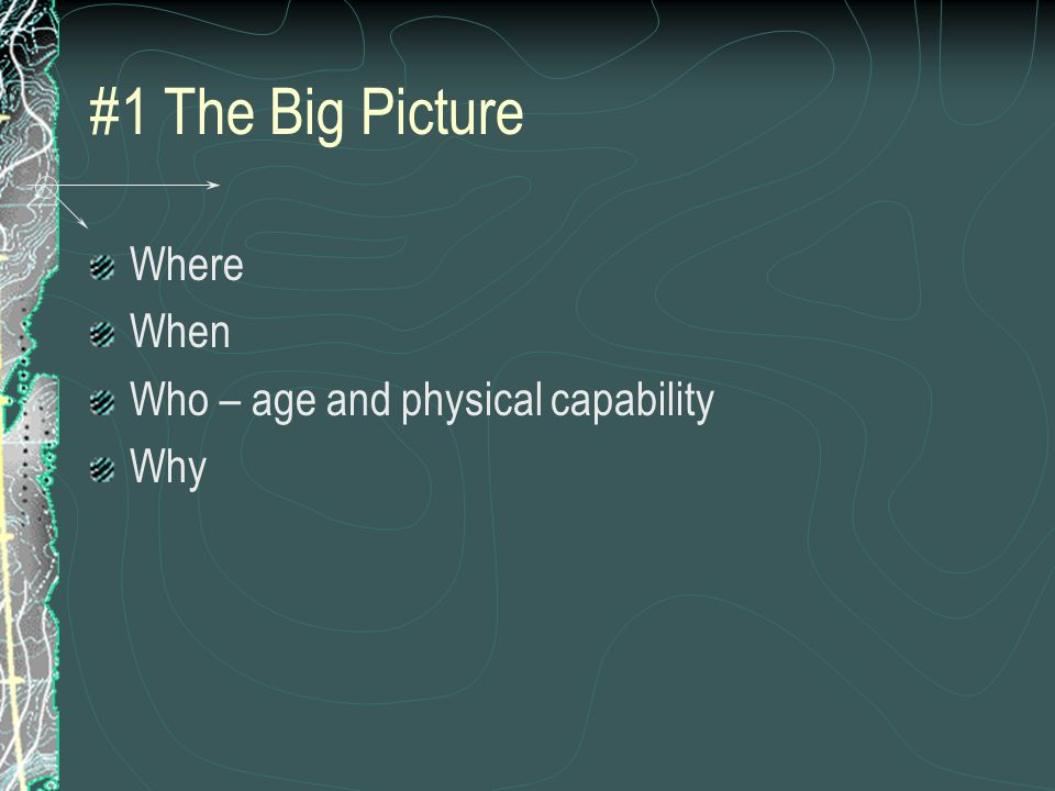 #1 The Big Picture Where When Who – age and physical capability Why