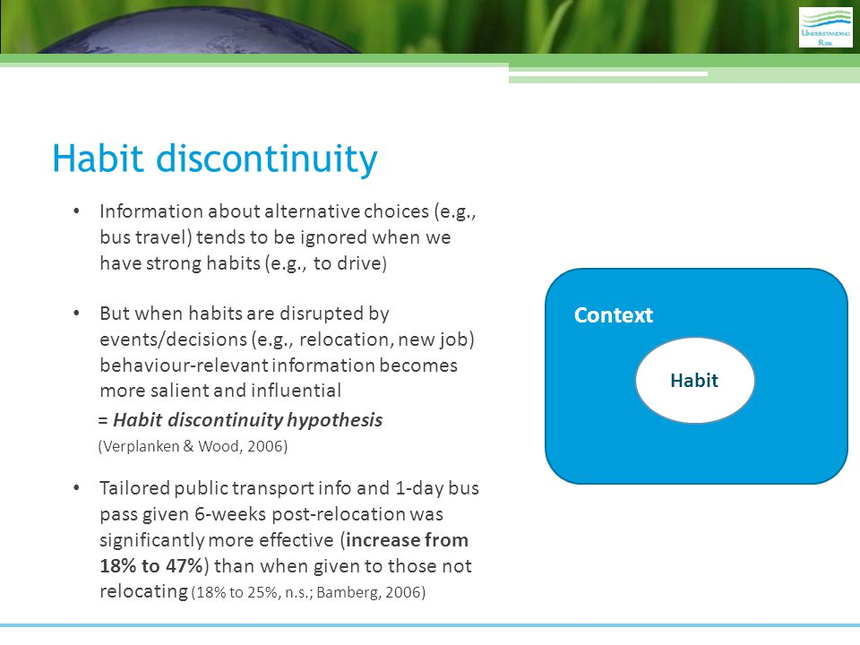 Habit discontinuity Habit Context Information about alternative choices (e.g., bus travel) tends to be ignored when we have strong habits (e.g., to drive ) But when habits are disrupted by events/decisions (e.g., relocation, new job) behaviour-relevant information becomes more salient and influential = Habit discontinuity hypothesis (Verplanken & Wood, 2006) Tailored public transport info and 1-day bus pass given 6-weeks post-relocation was significantly more effective (increase from 18% to 47%) than when given to those not relocating (18% to 25%, n.s.; Bamberg, 2006)