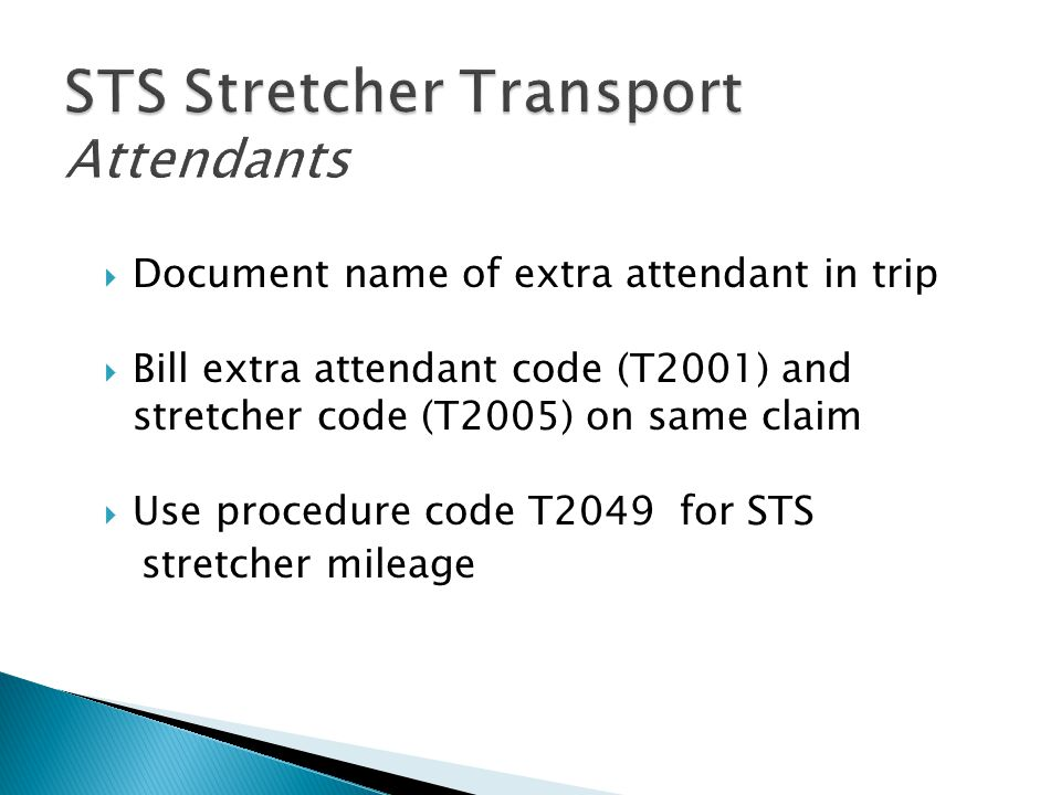  Document name of extra attendant in trip  Bill extra attendant code (T2001) and stretcher code (T2005) on same claim  Use procedure code T2049 for
