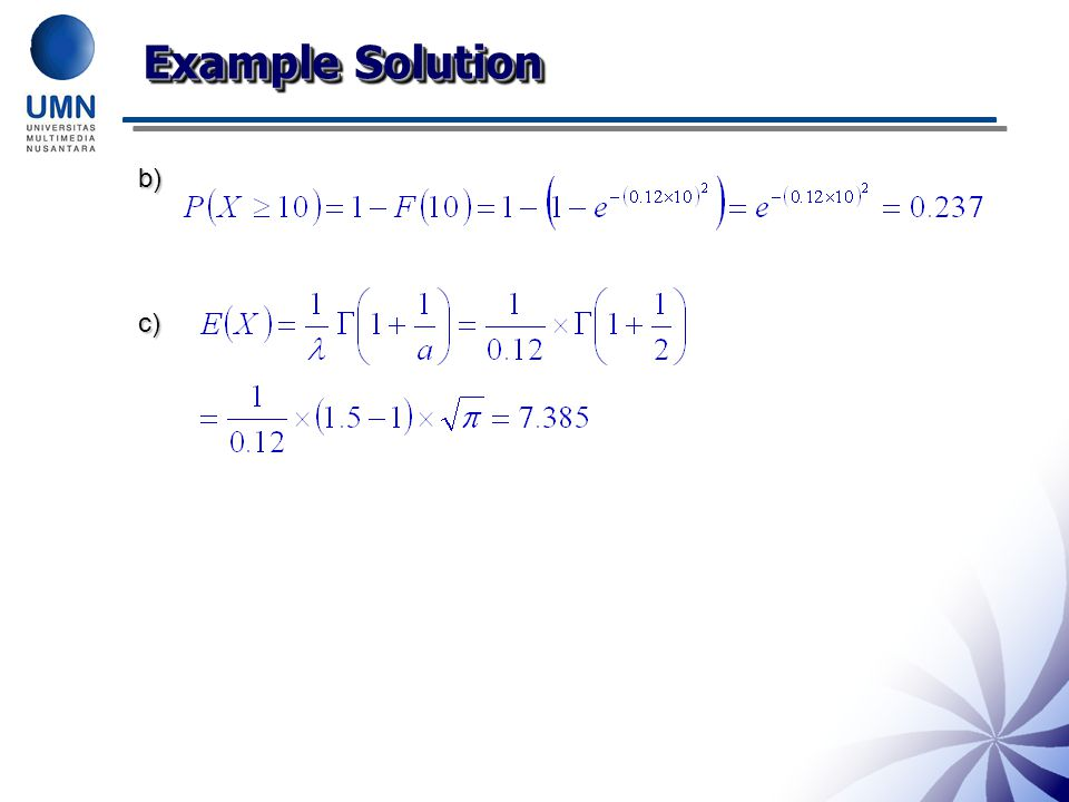 Example Solution b)c)